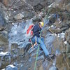Rappeling after a failed attempt to top rope an ice climb at Birdsboro Quarry