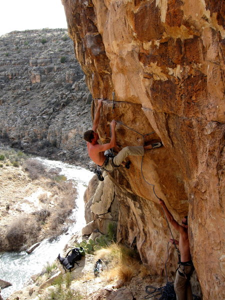 Triple D Getting a workout on Open Range 5.11+, Chevelon Canyon, AZ