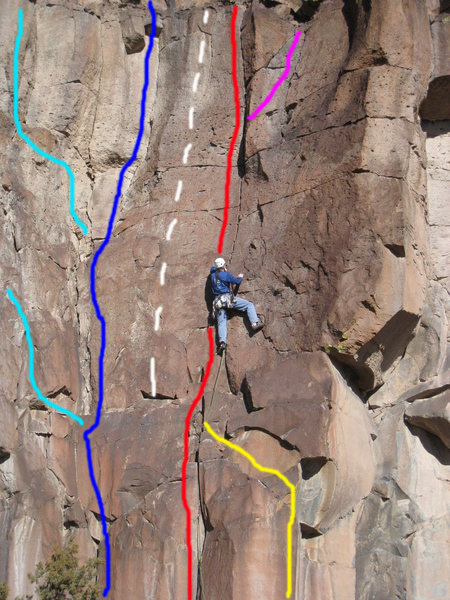 Rock Climbing Photo: Cactus Climb and BHJ. Blue = Cactus Climb (as per ...