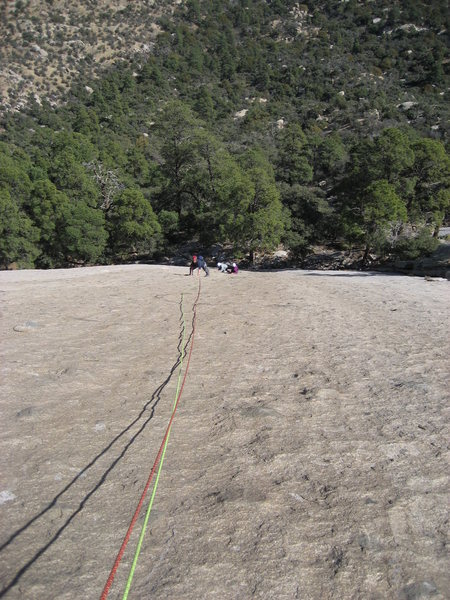 Looking down on the second pitch
