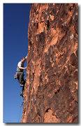 Rock Climbing Photo: Nick crimps his way up Desert Pickle