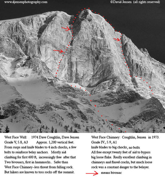Rock Climbing Photo: Matterhorn West Face with route descriptions and l...