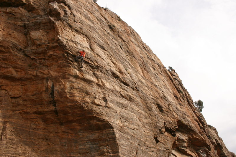 Rock Climbing Photo: Eric Rhicard fixing to pull the crux.
