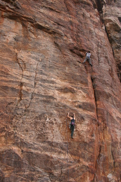 Erica Bigio on Nancy's Wet Dream, while Eric Murdock climbs Precipitation