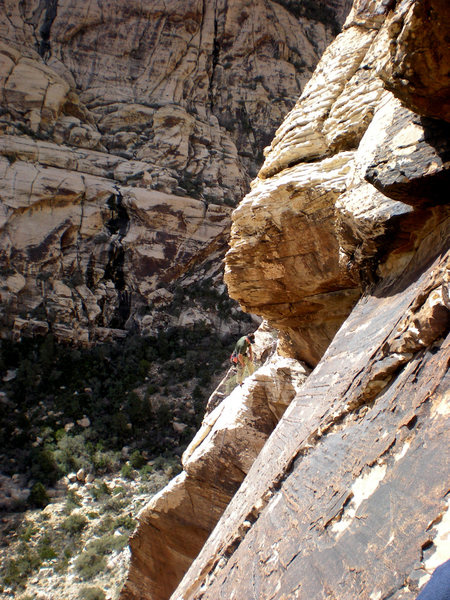 Rock Climbing Photo: climber at the top of the 2nd pitch - taken from j...