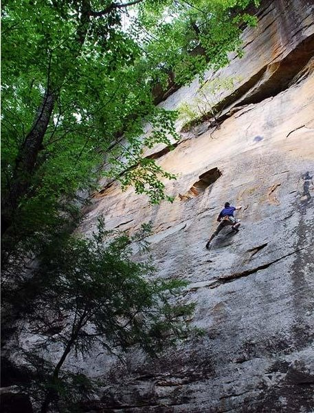 Rock Climbing Photo: Climbing Hemisfear - nearing the finish.   Photo f...
