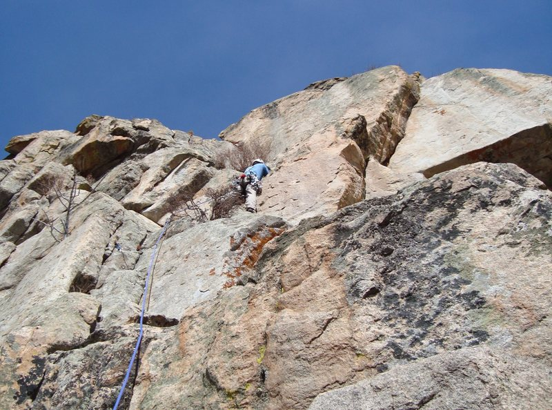 Rock Climbing Photo: Placing gear before the huge bush...I had to do mu...