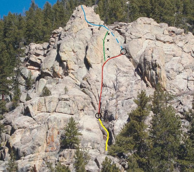 Yellow line is the 4th/low-5th class gully.  Belay at black circle.  Red line is P1 for the 5.6 variation.  Blue line is P2 for the 5.6 variation (dashed where hidden).  Green line is the sexy finger/hand crack variation, probably .10+ and black X's are the bolt locations for this section.  <em>There is also one bolt low on the route to the right of the red line</em>.