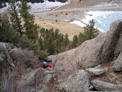 Rock Climbing Photo: Mike making the crux move through dirty gully belo...