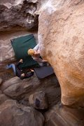 Rock Climbing Photo: Matthew NM moving to the sloping rail on The Egg. ...