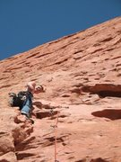 Rock Climbing Photo: Trying to look calm while climbing on anchent pito...