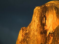 Rock Climbing Photo: Half Dome catches some sun during a storm