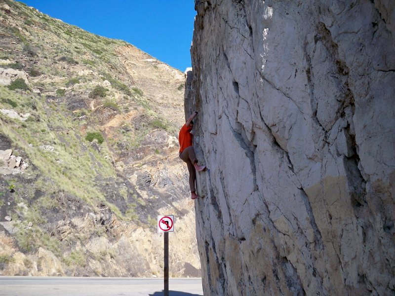 Rock Climbing Photo: Fred going au naturale on the Mugu boulder.