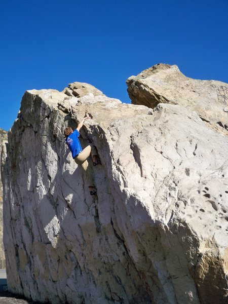 Rock Climbing Photo: Tucker on the Mugu boulder.