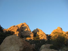 Rock Climbing Photo: The route goes up the right side of the left most ...