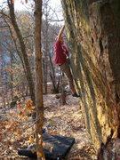 Rock Climbing Photo: AJ working the V4 alternate ending.