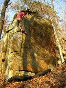 Rock Climbing Photo: AJ brushing, at the top of the line