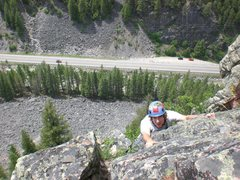 Rock Climbing Photo: My roommate Jeff, topping out on the second pitch ...