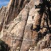 Todd Gordon climbing on Queen Mountain.<br> Photo by Blitzo.