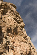 Rock Climbing Photo: Looking up at the new route with the roof up top, ...