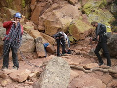 Rock Climbing Photo: Finishing up the rappel, getting ready to hike dow...