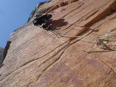 Rock Climbing Photo: A4 Pitch, Red Cham, beaking on The Birdbeak Spire