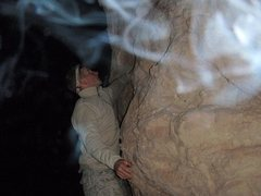 Rock Climbing Photo: Myself climbing in Iraq, the exhaust of my vehicle...