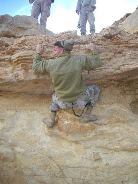On a Patrol during a very nice winter day in Iraq when we saw a pretty cool little ledge...