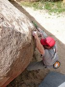 Rock Climbing Photo: Will cruxing on Sweet Tooth (V1+), Joshua Tree NP