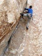 Rock Climbing Photo: Joel post crux on Spider Line (5.11d), Joshua Tree...
