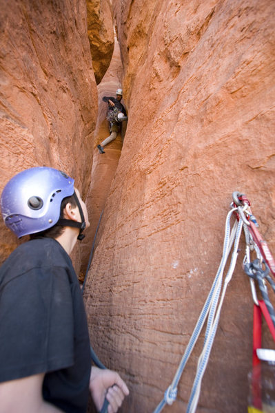 Rock Climbing Photo: Richard Fernandez belayed by his son Santiago on t...