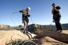 Rock Climbing Photo: Richard and Santiago on top of the Mace's first (l...