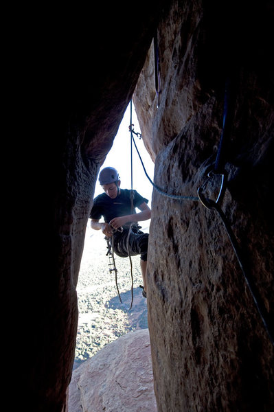 Rock Climbing Photo: cleaning the crux of the mace...