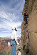Rock Climbing Photo: Patrick Brown leading pitch 4 of SSC, belayed by D...