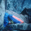 "The ""Better Bivy"" on top of pitch 7, during the 2nd ascent, 1979."