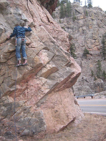 Rock Climbing Photo: Getting through the blocky climbing before the fir...