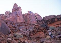 Rock Climbing Photo: Ben Kiessel approaching Plumb Tower.