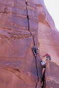 Rock Climbing Photo: Ben Kiessel takes off on the crux pitch of Low Han...