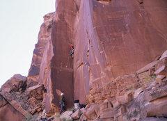 Rock Climbing Photo: Ian working his way up the beautiful, thin corner ...