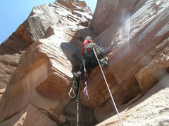 Rock Climbing Photo: Turning the roof at the start of pitch three.