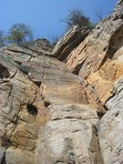 Rock Climbing Photo: Base of climb. Follows crack to ring anchors at to...