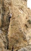 Rock Climbing Photo: Jeff Jones on Back in Black, belayed by Tom Caldwe...