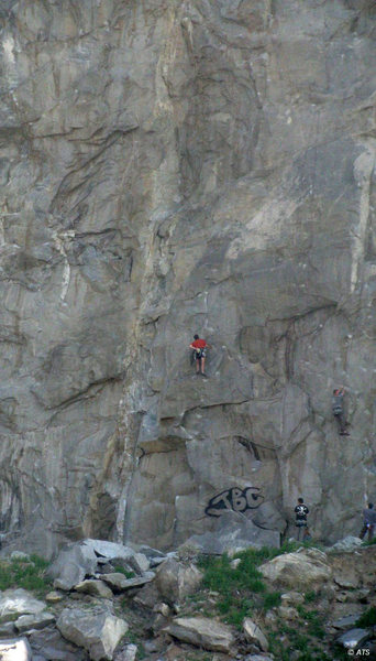 Climbers on Emphysema (5.10b) and Ground Zero (5.10d), Right of the Roof Area