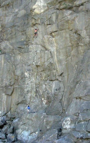 Rock Climbing Photo: Climber on Sky Pilot (5.12c)