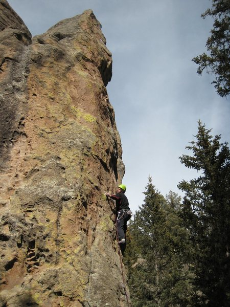 Scott entering the crux of Little Viking. March 2009.