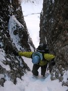 Rock Climbing Photo: Approach up gully to Motor Mouth.  Note main road ...