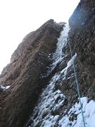 Rock Climbing Photo: TRing steep mixed ice left of Motor Mouth.  Fun!  ...
