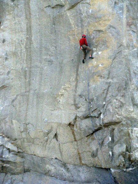 Rock Climbing Photo: Shaking out on this tough route..