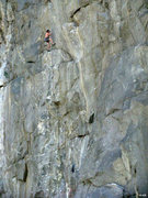 Rock Climbing Photo: Steep climbing on Sky Pilot (5.12c)