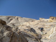 Rock Climbing Photo: Shows the easy pitch two to the belay of third pit...